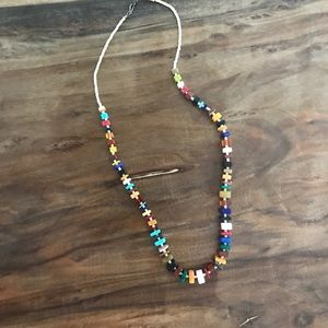 Stone and gem beaded necklace